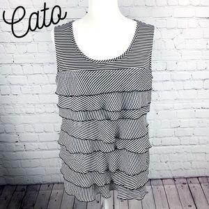 Cato Black & White Striped Ruffled Tank Top